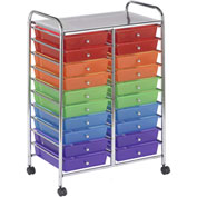 "ECR4Kids® 20-Drawer Mobile Organizer, 15-13/32""L x 24-3/4""W x 38""H, Assorted"