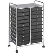 "ECR4Kids® 20-Drawer Mobile Organizer, 15-13/32""L x 24-3/4""W x 38""H, Smoke"