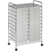 "ECR4Kids® 20-Drawer Mobile Organizer, 15-13/32""L x 24-3/4""W x 38""H, White"