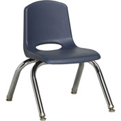 "ECR4Kids Classroom Stack Chair with Feet Glides - 10"" - Navy - Pkg Qty 6"
