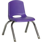 "ECR4Kids Classroom Stack Chair with Feet Glides - 10"" - Purple - Pkg Qty 6"