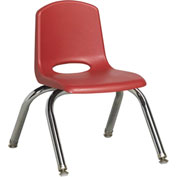 "ECR4Kids Classroom Stack Chair with Feet Glides - 10"" - Red - Pkg Qty 6"