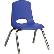 "ECR4Kids Classroom Stack Chair with Feet Glides - 12"" - Blue - Pkg Qty 6"