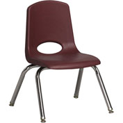 "ECR4Kids Classroom Stack Chair with Feet Glides - 12"" - Burgundy - Pkg Qty 6"