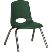 "ECR4Kids Classroom Stack Chair with Feet Glides - 12"" - Hunter Green - Pkg Qty 6"