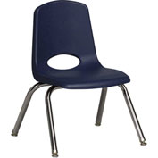 """ECR4Kids Classroom Stack Chair with Feet Glides - 12"""" - Navy - Pkg Qty 6"""