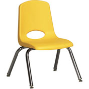 "ECR4Kids Classroom Stack Chair with Feet Glides - 12"" - Yellow - Pkg Qty 6"