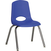 """ECR4Kids Classroom Stack Chair with Feet Glides - 14"""" - Blue - Pkg Qty 6"""