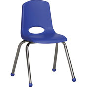 "ECR4Kids Classroom Stack Chair - 16"" - Blue - Pkg Qty 6"