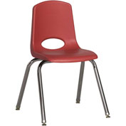 "ECR4Kids Classroom Stack Chair with Feet Glides - 16"" - Red - Pkg Qty 6"