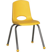 "ECR4Kids Classroom Stack Chair - 16"" - Yellow - Pkg Qty 6"