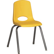 "ECR4Kids Classroom Stack Chair with Feet Glides - 16"" - Yellow - Pkg Qty 6"