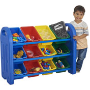 "ECR4Kids® 3-Tier Storage Organizer with 12 Tubs, 37-1/2""W x 14""D x 27-1/2""H"