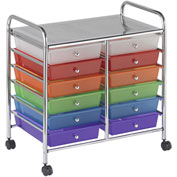 "ECR4Kids® 12-Drawer Mobile Organizer, 15-13/32""L x 24-3/4""W x 25-3/4""H, Assorted"