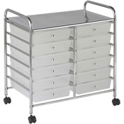 "ECR4Kids® 12-Drawer Mobile Organizer, 15-13/32""L x 24-3/4""W x 25-3/4""H, White"