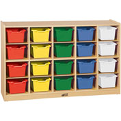 "ECR4Kids® 20 Tray Birch Cubby Storage Cabinet w/20 Assorted Bins, 48""W x 13""D x 30""H"
