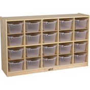 "ECR4Kids® 20 Tray Birch Cubby Storage Cabinet w/20 Clear Bins, 48""W x 13""D x 30""H"