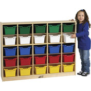 "ECR4Kids® 25 Tray Birch Cubby Storage Cabinet w/25 Assorted Bins, 48""W x 13""D x 36""H"