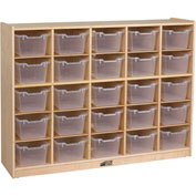 "ECR4Kids® 25 Tray Birch Cubby Storage Cabinet w/25 Clear Bins, 48""W x 13""D x 36""H"