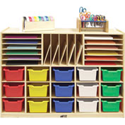 "ECR4Kids® Portfolio Multi-Section Birch Storage w/15 Assorted Bins, 48""W x 13""D x 36""H"