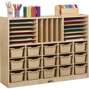 "ECR4Kids® Portfolio Multi-Section Birch Storage w/15 Sand Bins, 48""W x 13""D x 36""H"