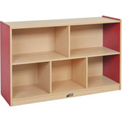 "ECR4Kids® Colorful Essentials Medium Storage Cabinet, 5 Compartment, 48""W x 15""D x 30""H, Red"
