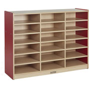 "ECR4Kids® Colorful Essentials 18-Tray Cubby Storage Cabinet, 48""W x 15""D x 36""H, Red"