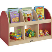 "ECR4Kids® Colorful Essentials Toddler Book Storage Island, 36""W x 20""D x 24""H, Red"