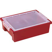 ECR4Kids®  ELR-0725 Storage Bin w/Clear Lid, 13-3/4x10-1/8x4-1/4, Red, Priced Each - Pkg Qty 6