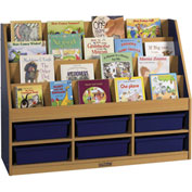 "ECR4Kids® Large Book Stand, 6-Compartment, 48""W x 15""D x 36""H, Blue"