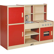 ECR4Kids® Colorful Essentials 4-in-1 Play Kitchen - Red