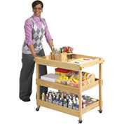 "ECR4Kids® Hardwood Art/Utility Cart with Dual Handles, 21-1/4""W x 34-1/2""D x 32-1/2""H"