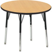 "36"" Round Adj Activity Table Maple Top Black Edge Black Std Leg Swivel Glide"