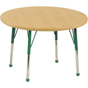 "36"" Round Adj Activity Table Maple Top Maple Edge Green Std Leg Ball Glide"