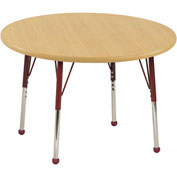 "36"" Round Adj Activity Table Maple Top Maple Edge Red Std Leg Ball Glide"