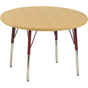 "36"" Round Adj Activity Table Maple Top Maple Edge Red Std Leg Swivel Glide"