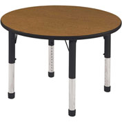 "ECR4Kids® 36"" Round Adj Activity Table Oak Top Black Edge Chunky Legs Ball Glide"