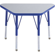 "18"" x 30"" Trapezoid Activity Table Gray Top Blue Edge Blue Std Leg Swivel Glide"