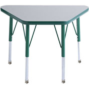 20x33 Trapezoid Activity Table Gray Top Green Edge Grn Juvenile Leg Swivel Glide