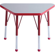 20x33 Trapezoid Activity Table Gray Top Red Edge Red Std Leg Ball Glide
