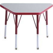 20x33 Trapezoid Activity Table Gray Top Red Edge Red Std Leg Swivel Glide