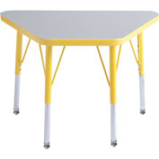 20x33 Trapezoid Activity Table Gray Top Ylw Edge Ylw Juvenile Leg Swivel Glide