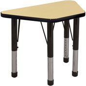 20x33 Trapezoid Activity Table Maple Top Black Edge Black Chunky Leg Ball Glide