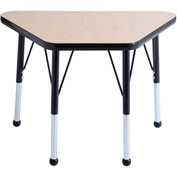 20x33 Trapezoid Activity Table Maple Top Black Edge Black Std Leg Ball Glide