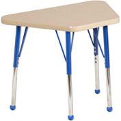 20x33 Trapezoid Activity Table Maple Top Maple Edge blue Std Leg Ball Glide