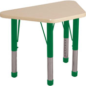 20x33 Trapezoid Activity Table Maple Top Maple Edge Green Chunky Leg Ball Glide