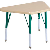 20x33 Trapezoid Activity Table Maple Top Maple Edge Green Std Leg Swivel Glide