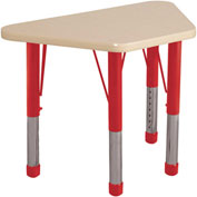 20x33 Trapezoid Activity Table Maple Top Maple Edge Red Chunky Leg Ball Glide