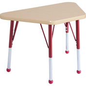 20x33 Trapezoid Activity Table Maple Top Maple Edge Red Std Leg Ball Glide