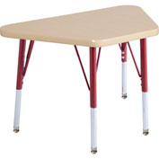 20x33 Trapezoid Activity Table Maple Top Maple Edge Red Std Leg Swivel Glide